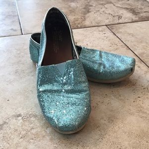 Turquoise sequin TOMS youth